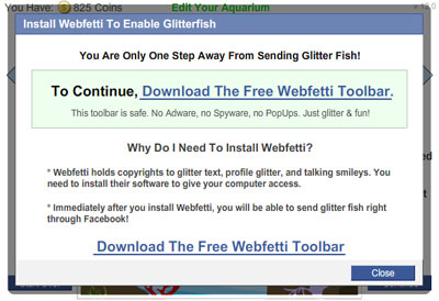 My Aquarium Webfetti Toolbar Dialog