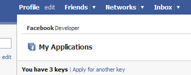 Facebook developer My Applications